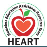 Logo for the Homeless Education Assistance Resource Team. A red apple with a pink heart inside