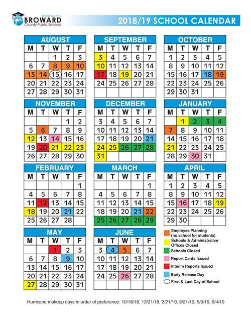 2018 19 school year calendar