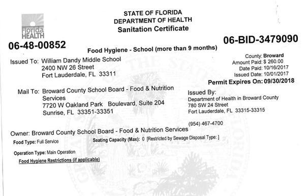 School Info / Cafeteria Health Inspection