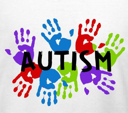 Different color hand prints representing Autism (a logo with the name Autism printed in black)