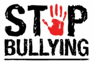 picture of a hand and the words stop bullying