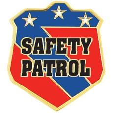 Blue, red, and gold badge with Safety Patrol in the center and three stars across the top