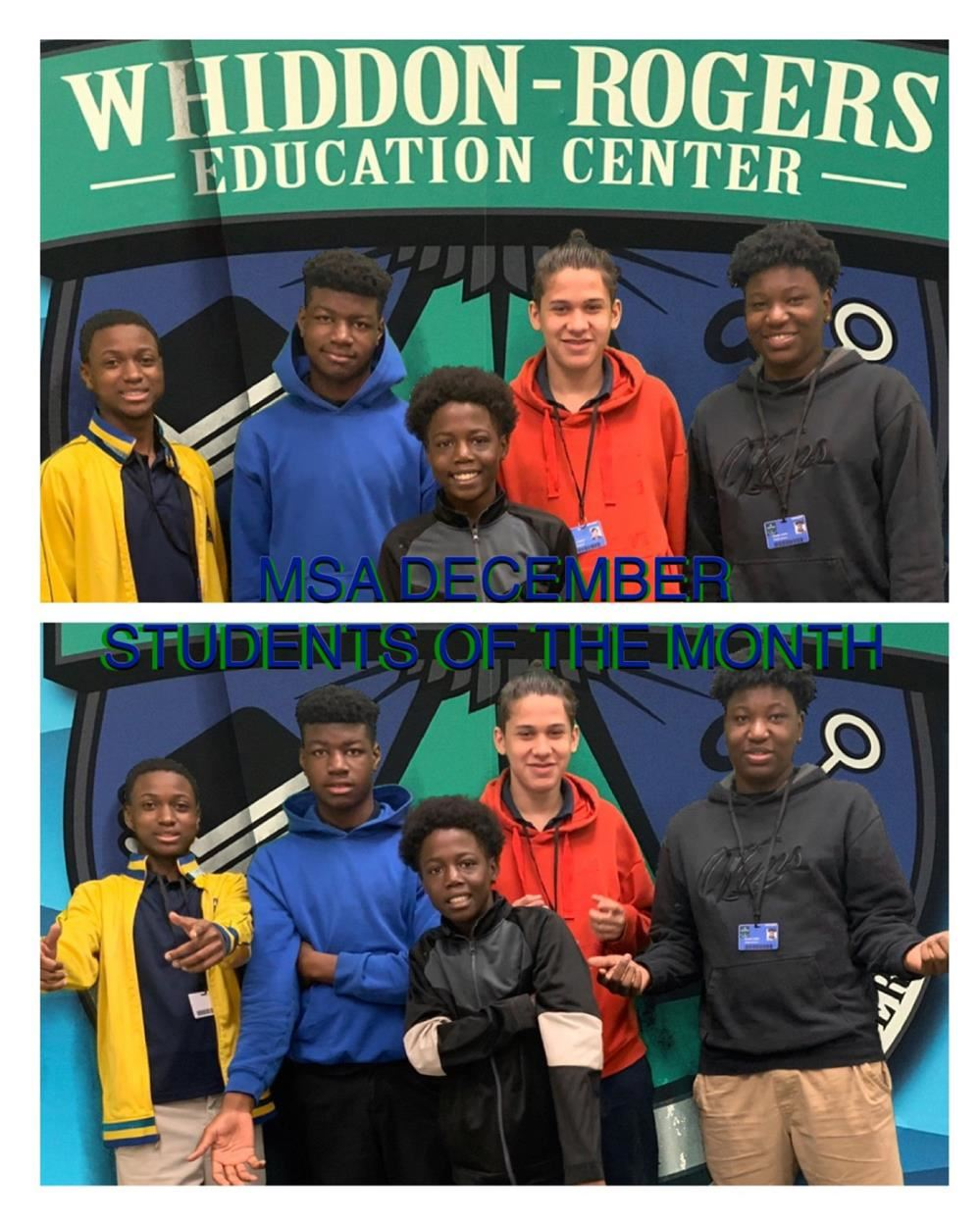MSA  December Students of the Month