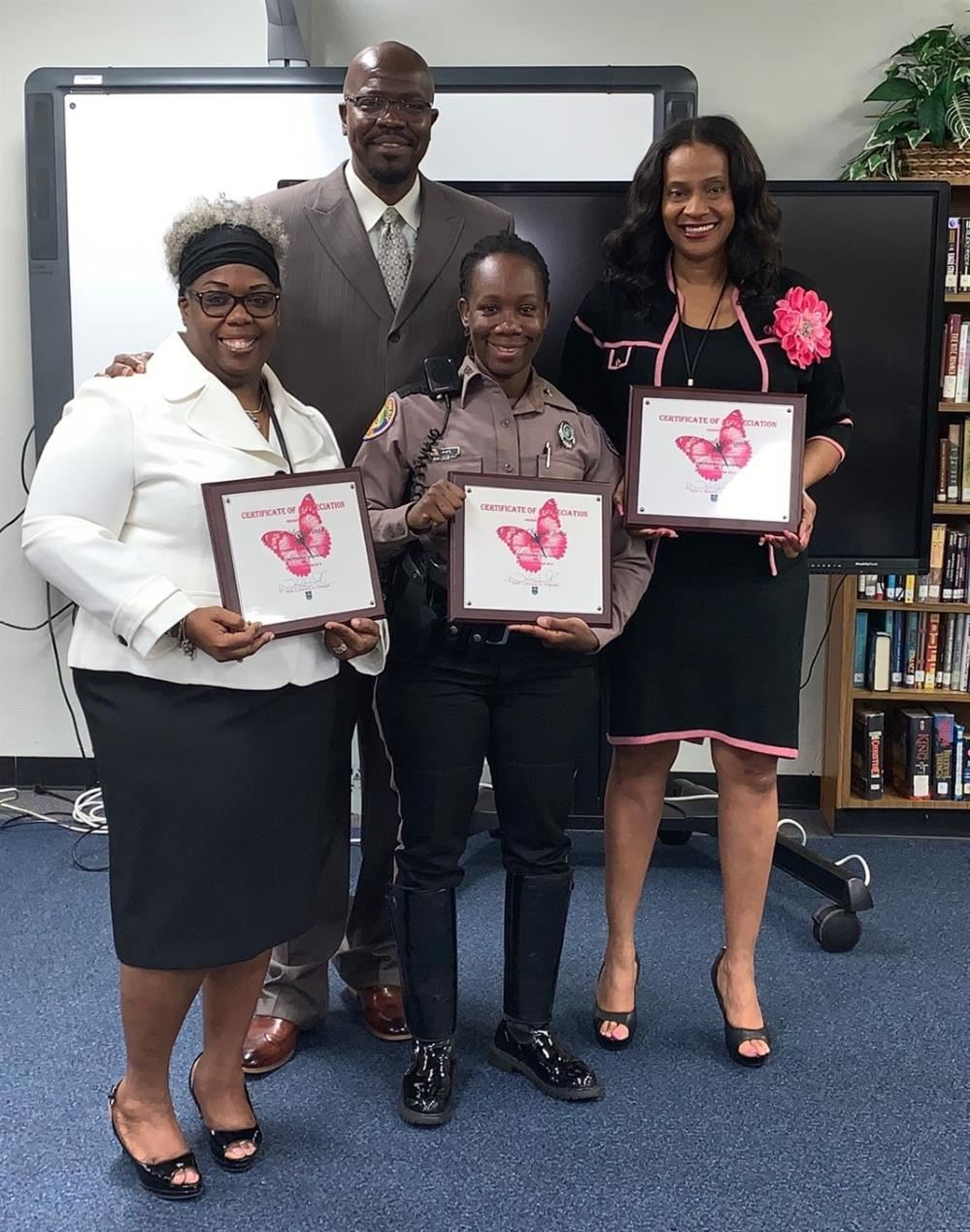 Living Your Best Life Seminar Guests Dr. Valerie Wanza, FHP Trooper Chantale Jones, and School Board Member Dr. Rosalind Osg