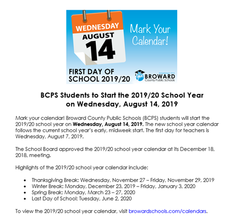 First day of school starts Wednesday, August 14th, 2019