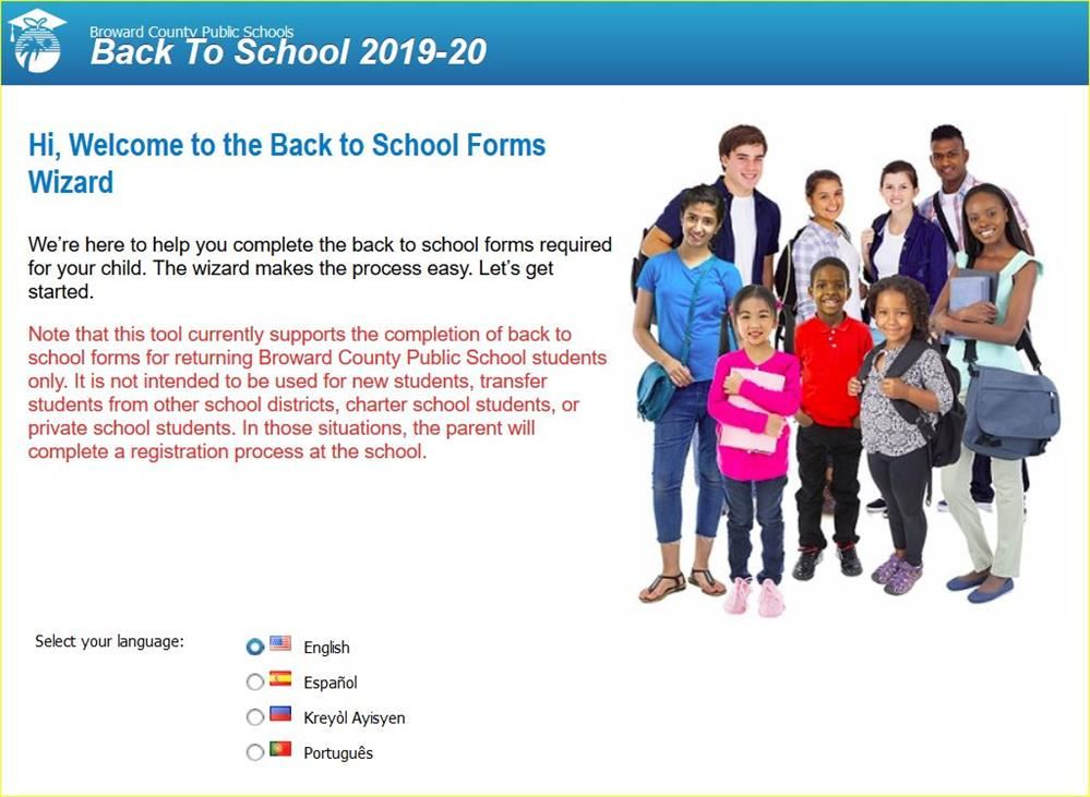 BACK TO SCHOOL FORMS 2019-2020