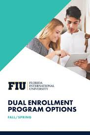 two students looking at a booklet and the FIU Dual Enrollment Options title.