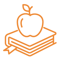 Clip-art image of an apple on top of a stack of books
