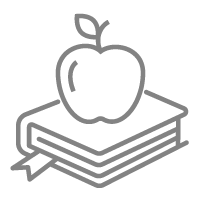 Picture of books and an apple