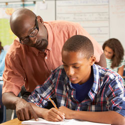 parent helping child with homework image